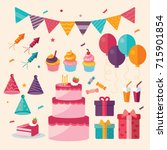 birthday icon flat color | Shutterstock .eps vector #715901854