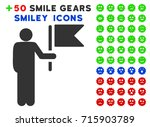 commander with flag pictograph... | Shutterstock .eps vector #715903789