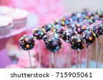 Chocolate Cake Pops On Pink...