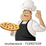 fat cartoon chef holding pizza  | Shutterstock .eps vector #715907539