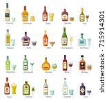 elite alcohol drinks in bottles ... | Shutterstock .eps vector #715914301