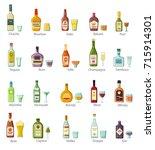 elite alcohol drinks in bottles ... | Shutterstock .eps vector #715914301