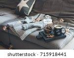 still life details of living... | Shutterstock . vector #715918441