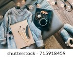 still life details. cup of... | Shutterstock . vector #715918459