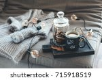 still life details of living... | Shutterstock . vector #715918519
