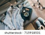 still life details of living... | Shutterstock . vector #715918531