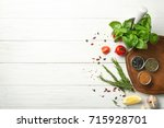 composition with wooden board... | Shutterstock . vector #715928701