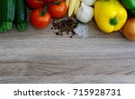 assorted colorful vegetables on ... | Shutterstock . vector #715928731