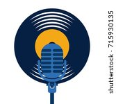 vinyl disk microphone vintage... | Shutterstock .eps vector #715930135