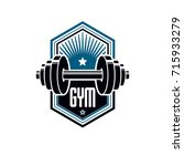 logotype for heavyweight gym or ... | Shutterstock .eps vector #715933279