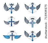 crosses of christianity emblems ... | Shutterstock .eps vector #715939375
