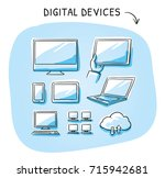 set with different computer and ... | Shutterstock .eps vector #715942681