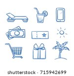 set with different benefits and ... | Shutterstock .eps vector #715942699