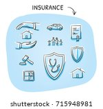 set with different insurance... | Shutterstock .eps vector #715948981