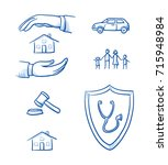 set with different insurance... | Shutterstock .eps vector #715948984