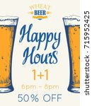 happy hours poster. vector... | Shutterstock .eps vector #715952425