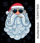 cartoon portrait of cool santa...   Shutterstock .eps vector #715957504