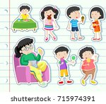sticker design with many kids... | Shutterstock .eps vector #715974391