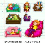sticker design with people on... | Shutterstock .eps vector #715974415