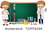 kids doing science lab... | Shutterstock .eps vector #715976104