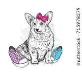 cute puppy with bows and... | Shutterstock .eps vector #715978279