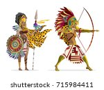 aztec warriors with bow and... | Shutterstock .eps vector #715984411