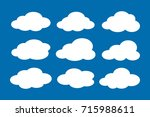 set of white clouds collection... | Shutterstock .eps vector #715988611