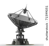 Satellite dishes antenna - Doppler radar isolated on white 3d render (Video of this image in my footage portfolio)  - stock photo