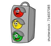 funny cartoon traffic light .... | Shutterstock .eps vector #716037385