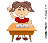 girl studying with school table ... | Shutterstock .eps vector #716039479