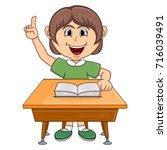 girl studying with school table ... | Shutterstock .eps vector #716039491