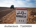 Road Sign To Marrakech In...