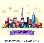 vector illustration of paris... | Shutterstock .eps vector #716054719