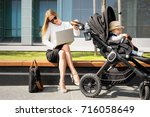 business woman with child in... | Shutterstock . vector #716058649