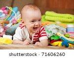baby girl with heap of children'... | Shutterstock . vector #71606260
