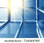 transparent glass roof of a... | Shutterstock . vector #716069785