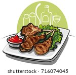 illustration of spare ribs with ... | Shutterstock . vector #716074045