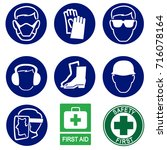 safety icons construction... | Shutterstock .eps vector #716078164