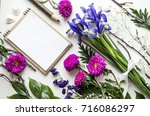 creative layout of accessories  ... | Shutterstock . vector #716086297