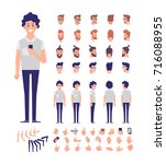 front  side  back view animated ... | Shutterstock .eps vector #716088955