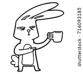 cartoon rabbit with coffee | Shutterstock .eps vector #716093185