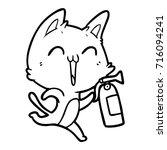 happy cartoon cat with fire... | Shutterstock .eps vector #716094241