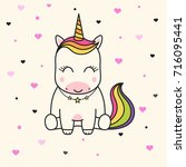cute unicorn face. children's... | Shutterstock .eps vector #716095441