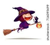halloween flying little witch.... | Shutterstock .eps vector #716095699
