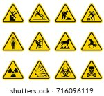 danger and caution signs... | Shutterstock .eps vector #716096119