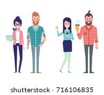 group of couples hipster... | Shutterstock .eps vector #716106835