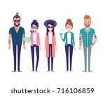group of young hipster friends. ... | Shutterstock .eps vector #716106859