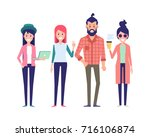 group of young hipster friends. ... | Shutterstock .eps vector #716106874