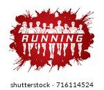 marathon runners  group of...   Shutterstock .eps vector #716114524