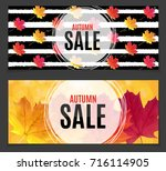 shiny autumn leaves sale banner.... | Shutterstock .eps vector #716114905